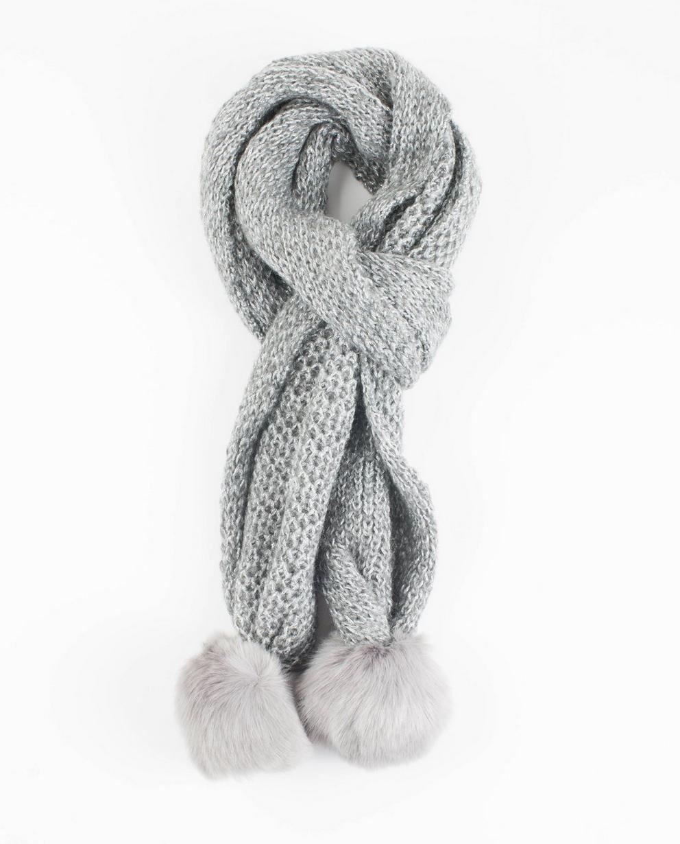 Écharpe en lurex  - pompons, grise - JBC